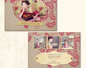 Valentine or All Occasions Photo Card Templates - Photoshop PSD Files - 551- Frida Love - Printable - 5X7