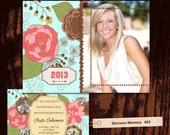 Senior Graduation Announcement Invitation Photo Card - Photoshop PSD Templates - No 603 - Enchanted Garden - Pastel Blue