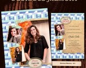 Senior Announcement Graduation Invitation Photo Card - Photoshop PSD Templates - No 614 - Mid Century Nostalgia - Blue