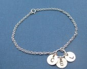 Three Discs Sterling Silver Bracelet initials bridesmaids children family