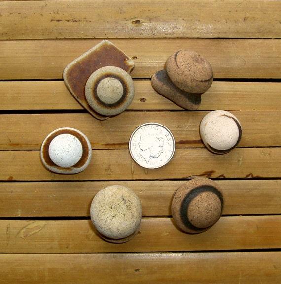 6 Teapot Lids - Sea Pottery Shards - Terracotta - Pendant Supplies (618)