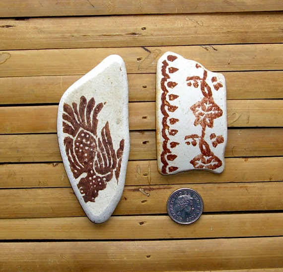 2 Large Sea Pottery Shards - Beach Pottery - Pendant Supplies (105)