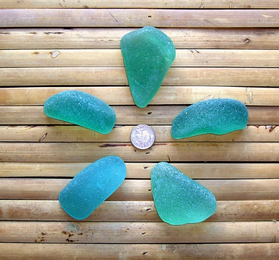 5 Large Sea Tumbled Glass Shards - Matching Nuggets - Green - Beach Glass - Pendant Supplies (821)
