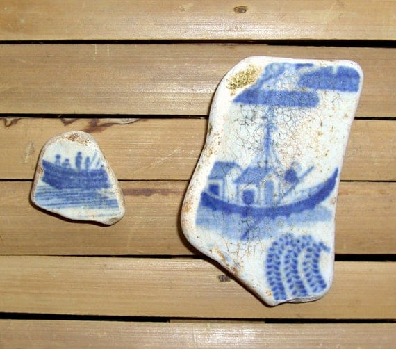 2 Boats - Scottish Sea Pottery Shards - Jewelry Supplies (927)