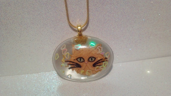 NEW Year Upcycled CAT Resin snake chain kitty pendant NECKLACE Handmade eco Exotic Shorthair Persian cabochon kitten jewelry Valentines Gift
