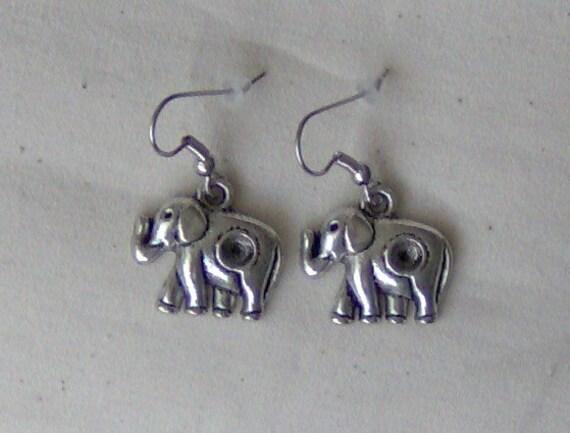 Antiqued Silvertone Elephant Charm Earrings Surgical Steel Hooks