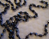 Rosary Chain of Czech 6mm   Hermatite fire polished crystals, on black chain