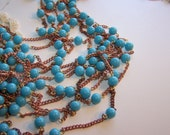 vintage supply of turquoise glass bead 8mm and copper plated steel chain