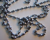 Rosary bead linked chain, Silver crystal on black chain  6mm Czech crystal AB coating