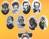 Horror Classics - 9 all purpose decals - On MIRROR FINISH Silver Vinyl - Free shipping Canada and USA