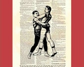 Vintage Victorian Wrestlers (or maybe dancers) - upcycled 8x10 1898 dictionary page print - BONUS - Buy 3 Prints, Get 1 More For FREE