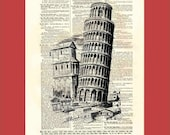 Vintage Leaning Tower of Pisa - upcycled 8x10 1898 dictionary page print - BONUS - Buy 3 Prints, Get 1 More For FREE