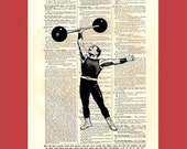 Victorian Strong Man - upcycled 8x10 1898 dictionary page print - BONUS - Buy 3 Prints, Get 1 More For FREE
