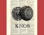 Labeled Doorknob - upcycled 8x10 1898 dictionary page print - BONUS - Buy 3 Prints, Get 1 More For FREE