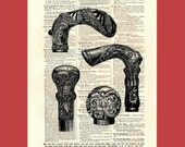 Get A Handle On It - Collection of Ornate Walking Stick Handles - 8x10 1898 dictionary print - BONUS - Buy 3 Prints, Get 1 More For FREE