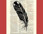 Simple Graphic Feather - upcycled 8x10 1898 dictionary page print - BONUS - Buy 3 Prints, Get 1 More For FREE