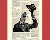 Vintage Chicken in a Top Hat - upcycled 8x10 1898 dictionary page print - BONUS - Buy 3 Prints, Get 1 More For FREE