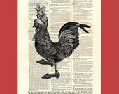 Dictionary page print. Chicken Dancing with a Fancy Hat on. BONUS - Buy 3 Prints, Get 1 More For FREE