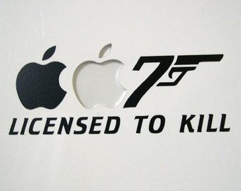 Licensed to Kill Macbook sticker decal in black or white for MacBook - Free shipping to Canada and USA