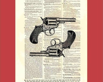 Vintage revolvers - upcycled 8x10 1898 dictionary page print - BONUS - Buy 3 Prints, Get 1 More For FREE