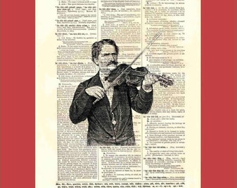 Vintage Violinist - upcycled 8x10 1898 dictionary page print - BONUS - Buy 3 Prints, Get 1 More For FREE