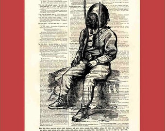 Worn out diver catching his breath and sitting down on the job - 8x10 1898 dictionary page print - BONUS - Buy 3 Prints, Get 1 More For FREE