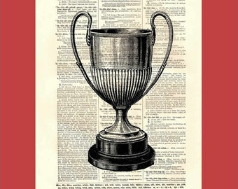 Everyone's A Winner, Babe - large trophy - upcycled 8x10 1898 dictionary page print - BONUS - Buy 3 Prints, Get 1 More For FREE