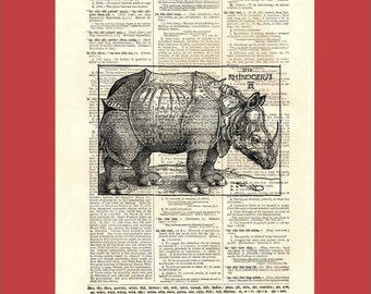 Vintage Dürer Rhino-esque Creature - upcycled 8x10 1898 dictionary page print - BONUS - Buy 3 Prints, Get 1 More For FREE