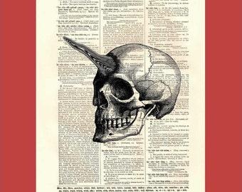 Homo Unicornus. Unicorn Man. - upcycled 8x10 1898 dictionary page print - BONUS - Buy 3 Prints, Get 1 More For FREE
