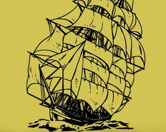 Vinyl Wall Decal Sticker Sailboat Pirate Ship 20x26