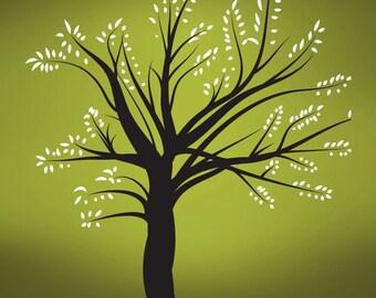 Vinyl Wall Decal Sticker Winter Tree Blossom Leaves 270