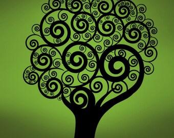 Vinyl Wall Decal Sticker Swirling Circle Tree 271B