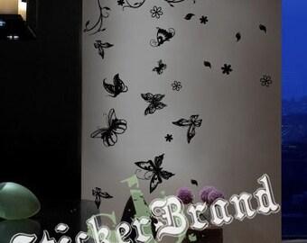 Vinyl Wall Decal Sticker Flower Butterflies 331