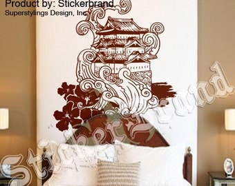 Vinyl Wall Decal Sticker Traditional Japanese Building Typhoon Waves 342s