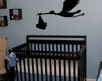 Vinyl Wall Decal Sticker Stork Bird w/ baby 212