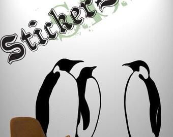 Vinyl Wall Decal Sticker Emperor Penguins Set of 3 366