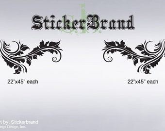 Vinyl Wall Decal Sticker Floral Leave Pattern 369