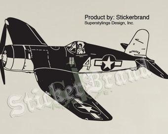 Vinyl Wall Decal Sticker World War II Fighter Airplane