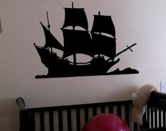 Vinyl Wall Decal Sticker Pirate Sail Ship Decoration 197