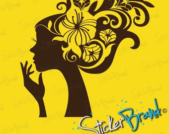 Vinyl Wall Art Decal Sticker Girl Flower Hair 470