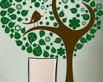 Vinyl Wall Decal Sticker Stylish Tree w Leaves Bird 269