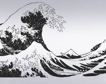 Vinyl Wall Decal Sticker Japanese Great Wave Hokusai 363 Size 65in X 118in