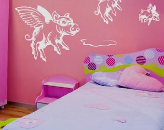 Vinyl Wall Decal Sticker When Pigs Fly item GFoster130A