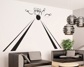 Vinyl Wall Decal Sticker Bowling Lane with Pins GFoster135s