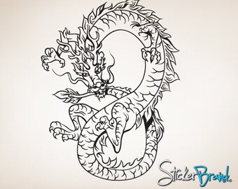 Vinyl Wall Decal Sticker Chinese Asian Dragon 819s