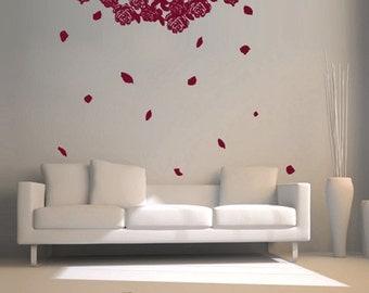 Vinyl Wall Decal Sticker Hanging Flower Roses  GFoster158B
