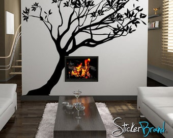 Vinyl Wall Decal Sticker Leaning Tree 84inX82in item AC153m