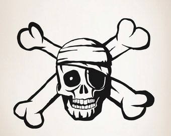 Vinyl Wall Decal Sticker Pirate Skull OSAA106