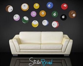 Graphic Vinyl Wall Decal Sticker Billiard balls item OSMB130