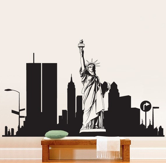 Vinyl wall decal sticker new york city statue liberty 283a for Avengers wall mural amazon